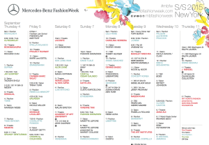 Schedule curtsey of http://mbfashionweek.com