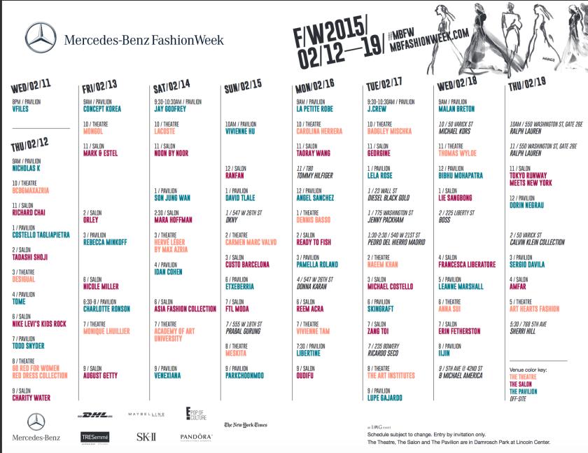MB New York Fashion Week Schedule