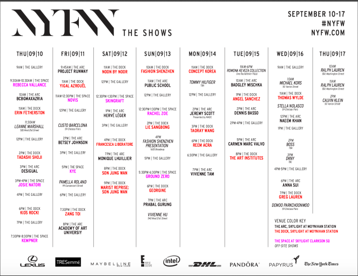New York Fashion Week Schedule